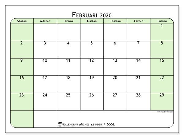 Kalender februari 2020, 65SL. Kalender för att skriva ut gratis.