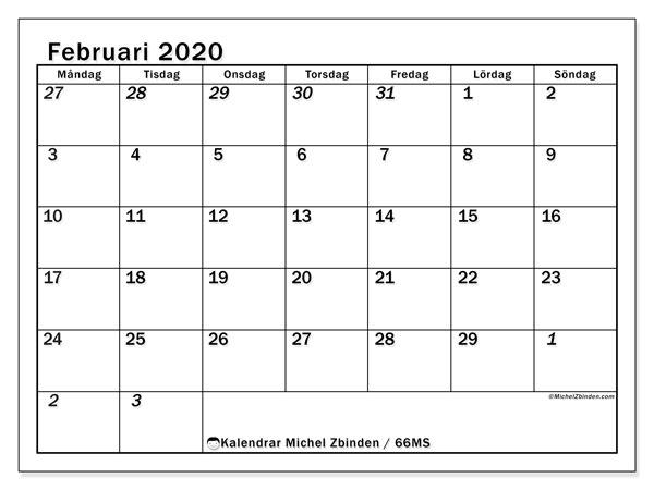 Kalender februari 2020, 66MS. Kalender för gratis utskrift.