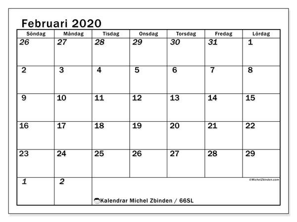 Kalender februari 2020, 66SL. Kalender för att skriva ut gratis.