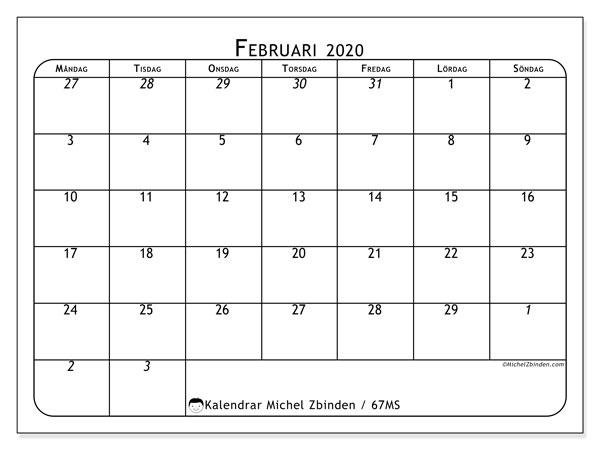 Kalender februari 2020, 67MS. Gratis kalender att skriva ut.