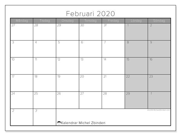 Kalender februari 2020, 69MS. Kalender för att skriva ut gratis.