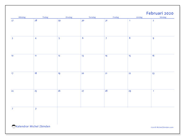 Kalender februari 2020, 73MS. Månadskalender för att skriva ut gratis.