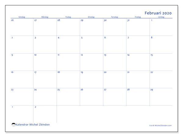 Kalender februari 2020, 73SL. Almanak för att skriva ut gratis.