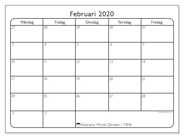 Kalender februari 2020, 74MS. Gratis utskrivbara kalender.