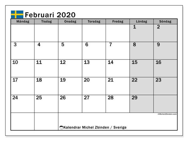 Kalender februari 2020, med helgdagar i sverige. Månadskalender för att skriva ut gratis.