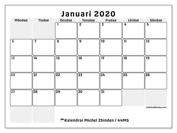 Kalender januari 2020, 44MS. Almanak för att skriva ut gratis.