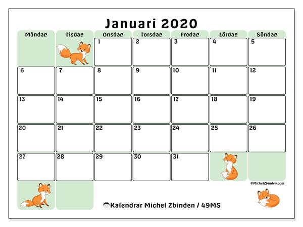 Kalender januari 2020, 49MS. Kalender för gratis utskrift.