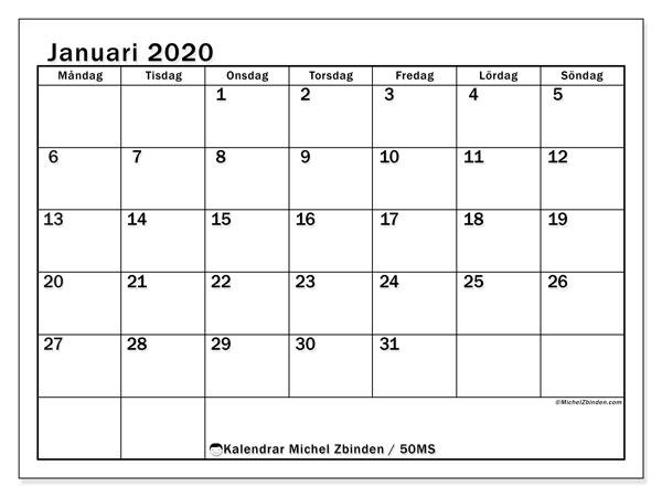Kalender januari 2020, 50MS. Månadskalender för att skriva ut gratis.