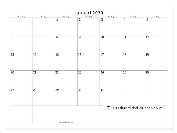 Kalender januari 2020, 53MS. Almanak för att skriva ut gratis.