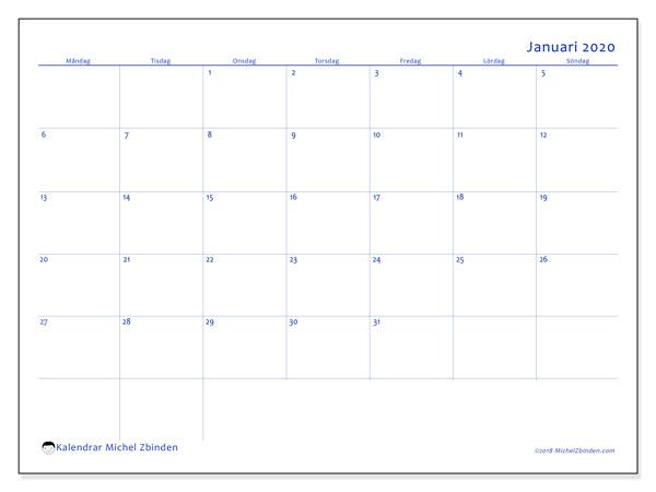 Kalender januari 2020, 55MS. Schema för att skriva ut gratis.