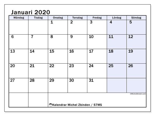 Kalender januari 2020, 57MS. Kalender för året att skriva ut gratis.