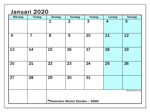 Kalendrar januari 2020 - MS, 59