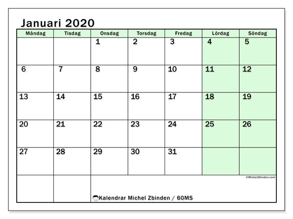 Kalendrar januari 2020 - MS, 60