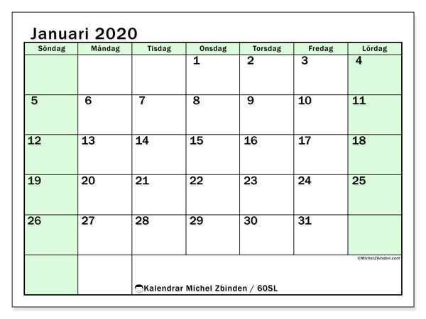Kalender januari 2020, 60SL. Kalender för att skriva ut gratis.