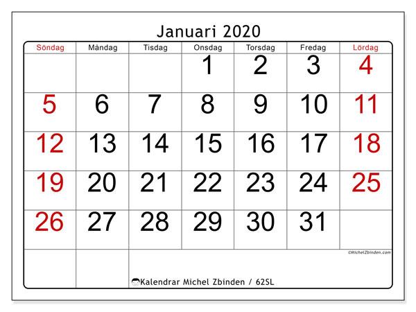 Kalender januari 2020, 62SL. Gratis utskrivbara kalender.