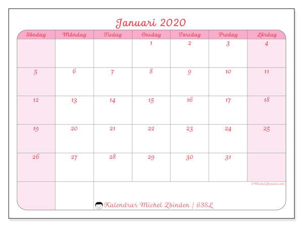 Kalender januari 2020, 63SL. Kalender för gratis utskrift.