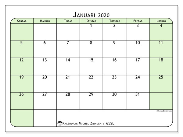 Kalender januari 2020, 65SL. Almanak för att skriva ut gratis.