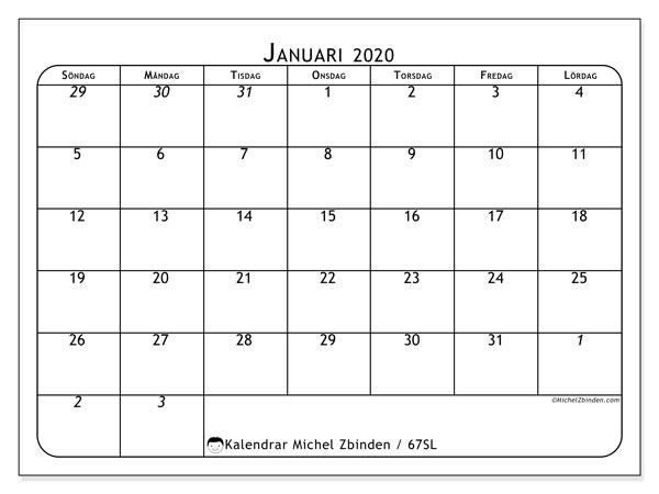 Kalender januari 2020, 67SL. Kalender för att skriva ut gratis.