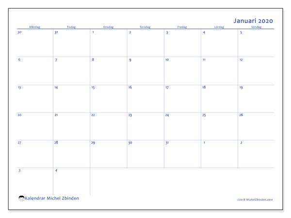 Kalender januari 2020, 73MS. Månadskalender för att skriva ut gratis.