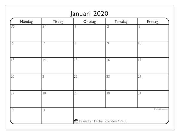 Kalender januari 2020, 74SL. Almanak för att skriva ut gratis.