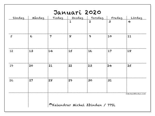Kalender januari 2020, 77SL. Gratis kalender att skriva ut.