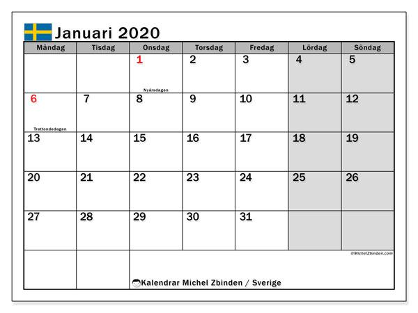 Kalender januari 2020, med semester i Sverige. Kalender för gratis utskrift med helgdagar.