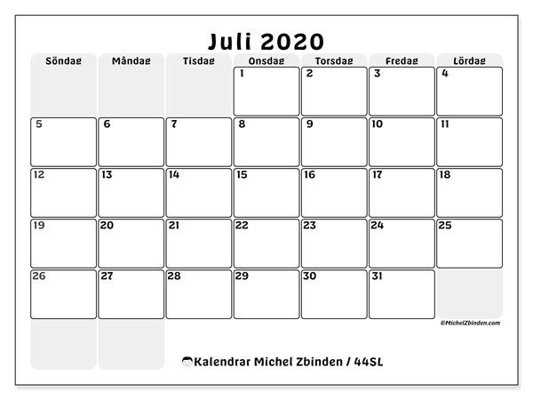 Kalender juli 2020, 44SL. Gratis kalender att skriva ut.