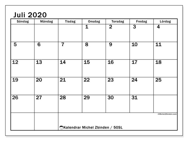 Kalender juli 2020, 50SL. Månadskalender för att skriva ut gratis.