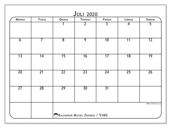 Kalender juli 2020, 51MS. Kalender för året att skriva ut gratis.