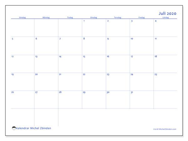 Kalender juli 2020, 55SL. Almanak för att skriva ut gratis.