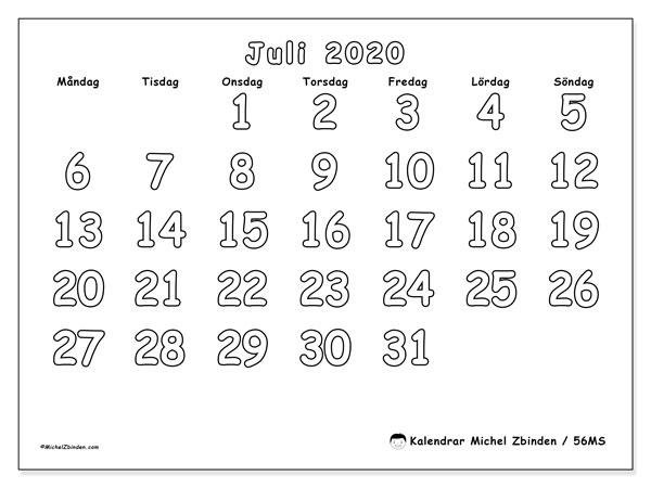 Kalender juli 2020, 56MS. Schema för att skriva ut gratis.