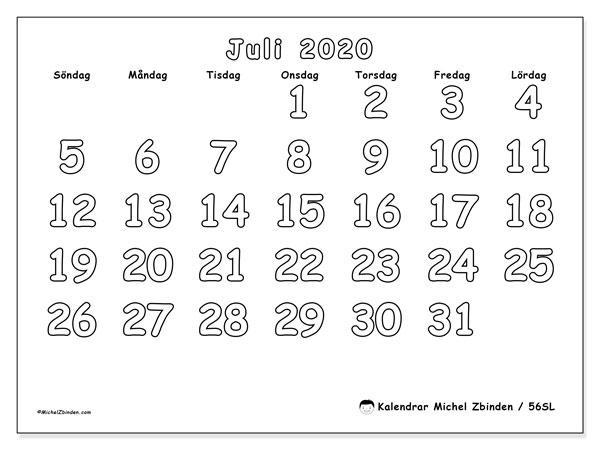 Kalender juli 2020, 56SL. Kalender för gratis utskrift.