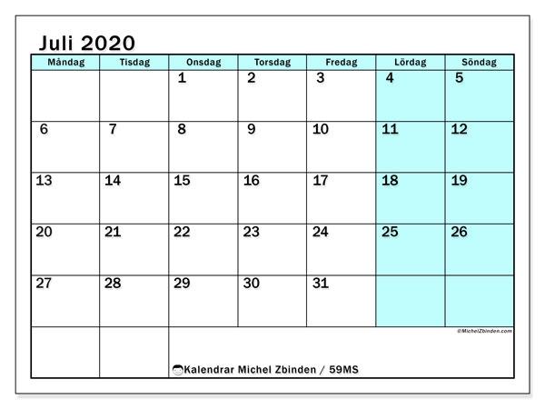 Kalender juli 2020, 59MS. Kalender för gratis utskrift.