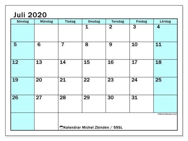 Kalender juli 2020, 59SL. Gratis kalender att skriva ut.
