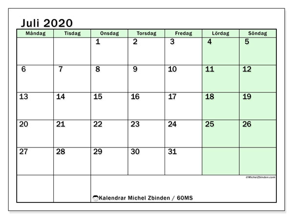 Kalender juli 2020, 60MS. Gratis utskrivbara kalender.