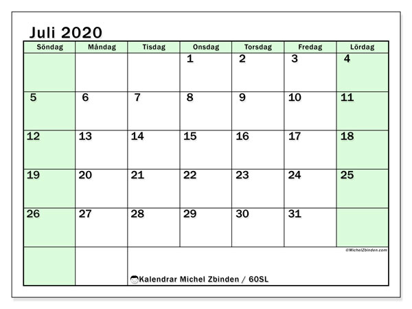 Kalender juli 2020, 60SL. Gratis kalender att skriva ut.