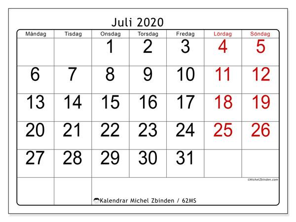 Kalender juli 2020, 62MS. Almanak för att skriva ut gratis.