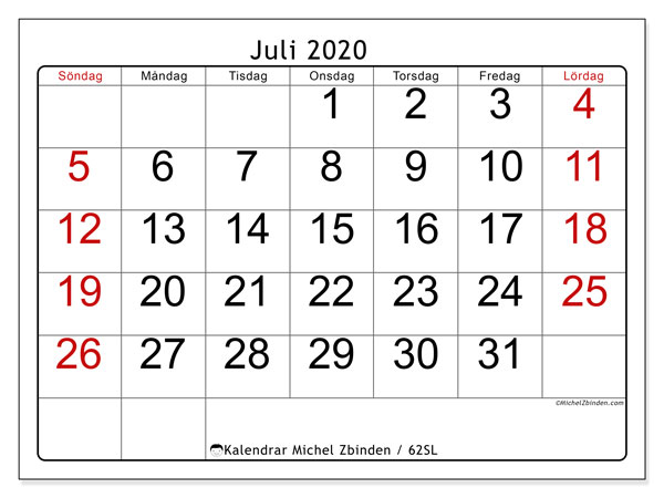 Kalender juli 2020, 62SL. Gratis utskrivbara kalender.