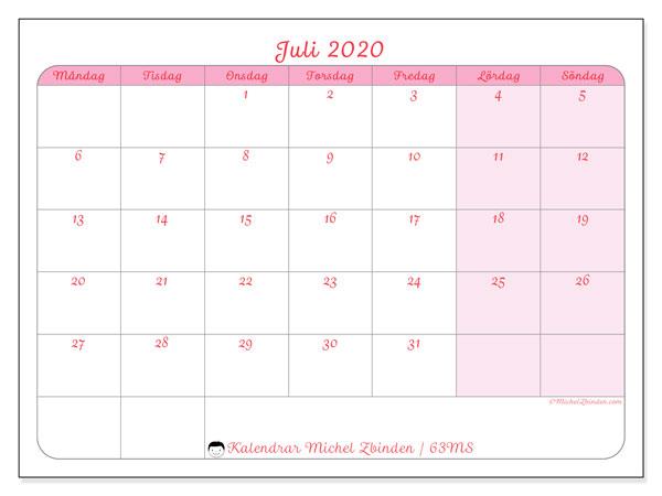 Kalender juli 2020, 63MS. Kalender för att skriva ut gratis.