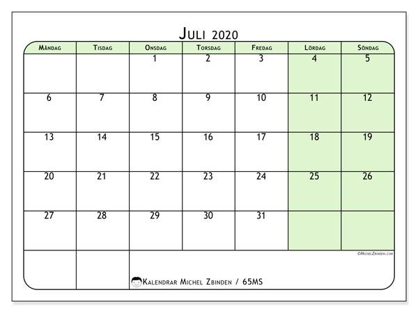 Kalender juli 2020, 65MS. Kalender för gratis utskrift.