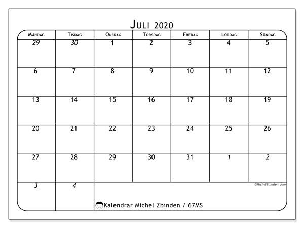 Kalender juli 2020, 67MS. Kalender för gratis utskrift.