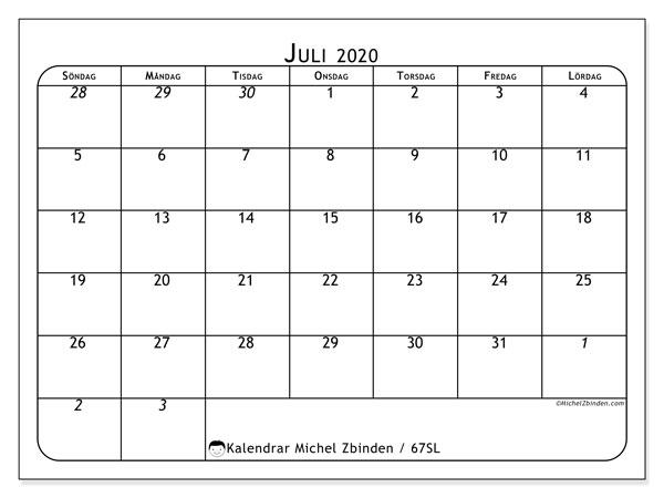 Kalender juli 2020, 67SL. Gratis kalender att skriva ut.