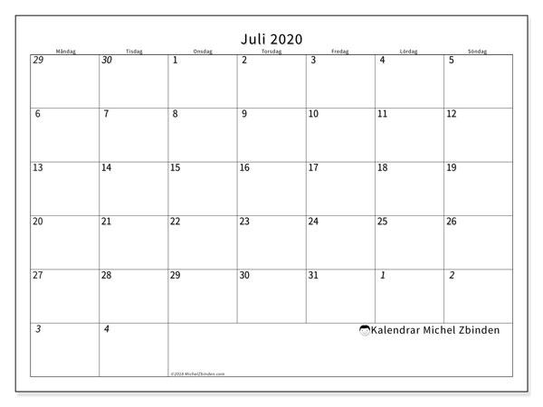 Kalender juli 2020, 70MS. Kalender för att skriva ut gratis.