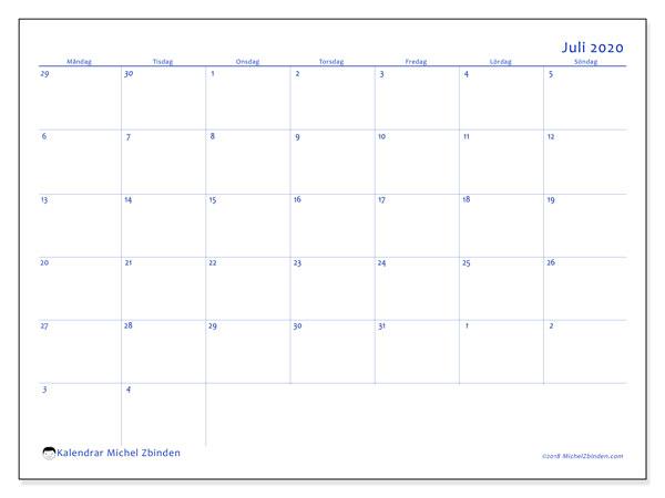 Kalender juli 2020, 73MS. Gratis utskrivbara kalender.