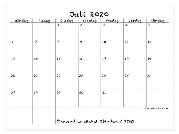 Kalender juli 2020, 77MS. Gratis utskrivbara kalender.