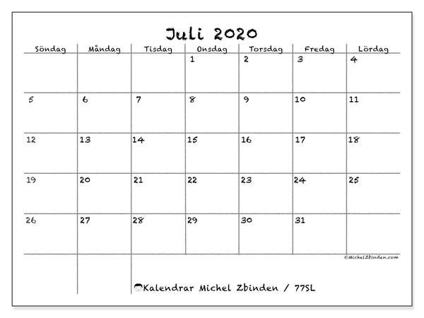 Kalender juli 2020, 77SL. Gratis utskrivbara kalender.