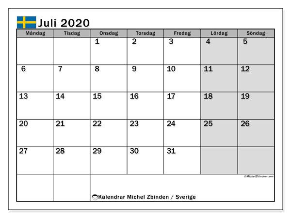 Kalender juli 2020, med helgdagar i sverige. Kalender för året att skriva ut gratis.