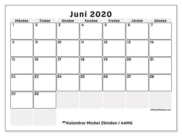 Kalender juni 2020, 44MS. Schema för att skriva ut gratis.
