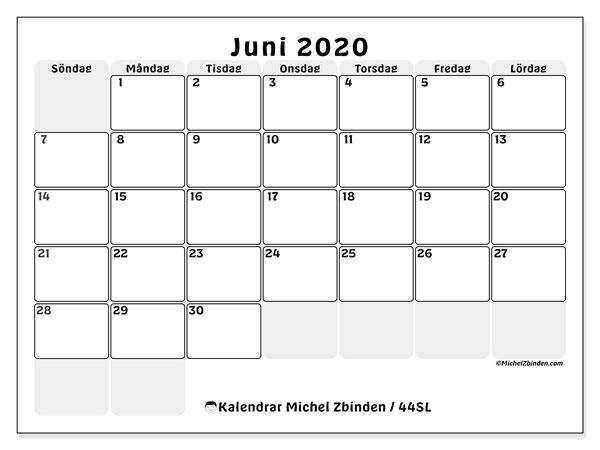 Kalender juni 2020, 44SL. Kalender för att skriva ut gratis.