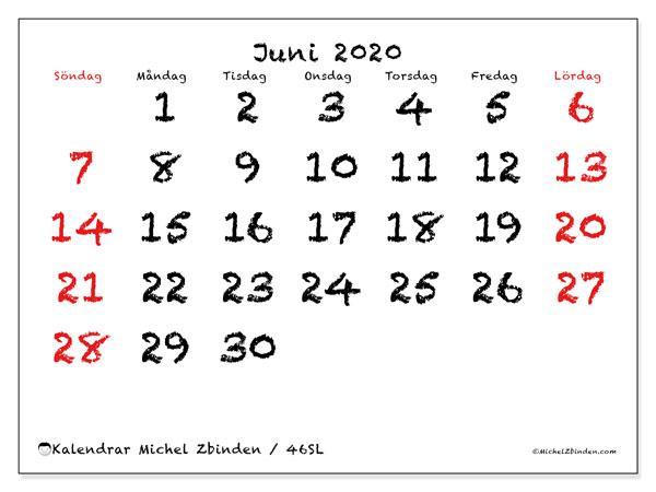 Kalender juni 2020, 46SL. Kalender för gratis utskrift.